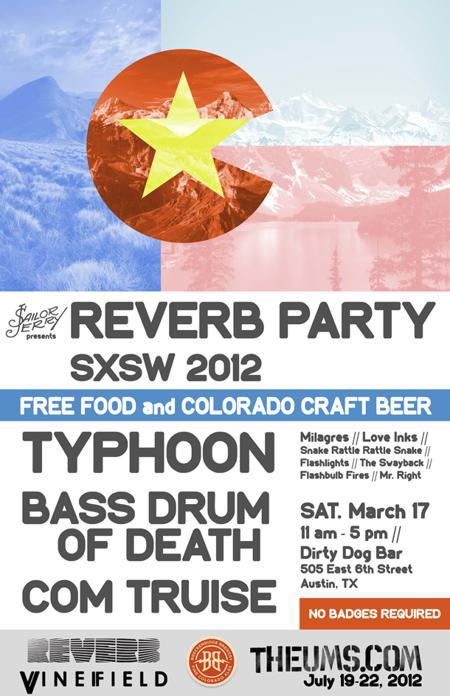 Reverb Party with Typhoon, Bass Drum of Death, Com Truise (Free Food & Beer!)
